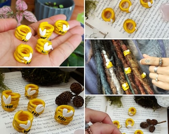 SALE-  Set of 5 Dread Beads, Bumble Bee BEEds, Bumble Bees, Save the Bees, Large Big Hole Beads, Dreadbeads, Dreadlock Beads, Dread Charms