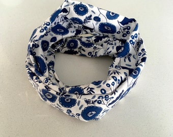 Infinity scarf - Floral blue - Infinity scarf, scarf, baby, child, adult