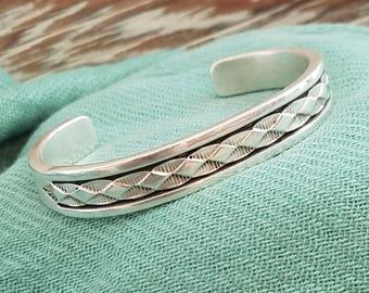 Morgan solid sterling silver cuff bracelet Native American Navajo Sterling silver bracelet heavy silver SIGNED B Morgan OL2159