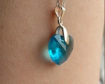 Heart Pendant Necklace, Blue Heart Pendant, Crystal Heart, Crystal Jewellery, Crystal Jewelry, Heart Jewellery, Heart Jewelry, Blue Necklace