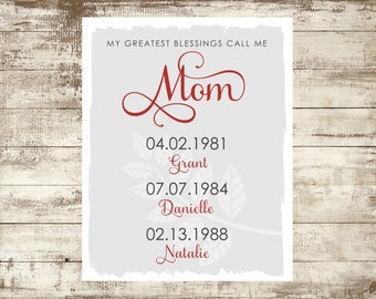 My Greatest Blessings Call Me Mom, Mother's Day Print, Personalized Mother's Day Gift, Gift for Mom, Personalized Mom Gift, DIGITAL FILE
