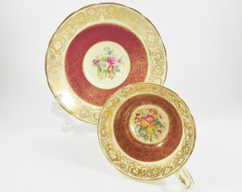 Hammersley Teacup and Saucer, Vintage Hammersley Tea cup, Burgundy Red Gold Floral Teacup, Bone China, Gift for Tea Lover, Garden Party