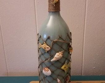 seascape design wine bottle oil lamp