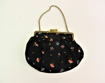 1930's embroidered silk evening bag / handbag with marcasite catch detail, black silk crepe with taffeta lining
