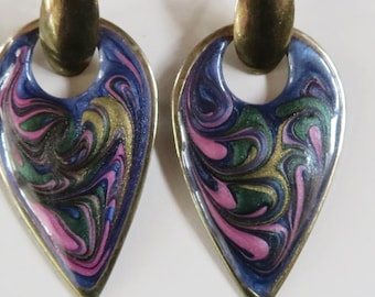 "PURPLE Teardrop EARRINGS Enameled Oval Metal PIERCED, Green Gold Swirl, 2"" Long (#544)"
