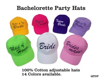 Bridal Hats -Bachelorette Party Hats - Wedding Hats -Bridesmaid hats - Beach Party hats - Personalized wedding hats - Bridal party hats