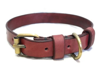 Leather dog collar : Handmade vegetable tan leather