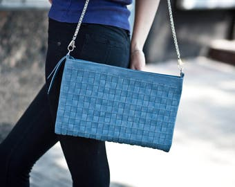 Leather crossbody bag woven leather purse blue leather handbag leather shoulder bag shoulder leather bag boho bag