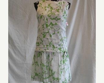On Sale 1960's Sleeveless Drop Waist Summer Sun Dress in White Green Floral Print Cotton Voile
