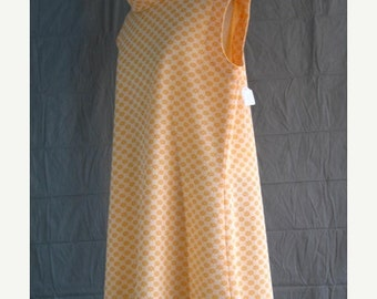 On Sale 1960's Mini Dress Cowl Neck Sleeveless Orange Floral patterned Polyester