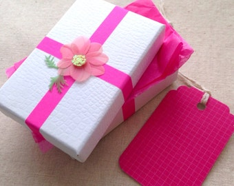 Earring Gift Box, Pink Gift Box, Pink Flower Gift Boxes, Gift Wrapping, Gift Tag and Tissue Paper, Gift for Her