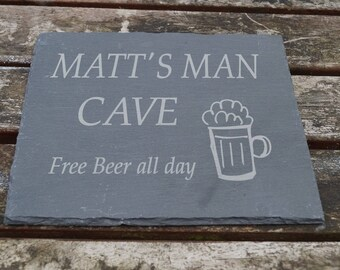 Mans shed sign, slate shed, beer cave sign, stable sign, personalised sign, engraved sign, house sign, house plaque, dads plaque, gift