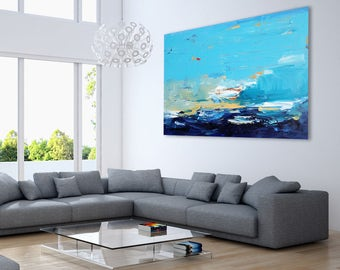 ORIGINAL ACRYLIC Painting, Seascape Painting, Blue Abstract Art, Impressionist Canvas Painting, Sea Painting Wall Art Home Decor Gift Art