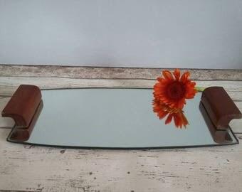 Retro Mirror Vanity Tray // Wood Handles // 1970s // Vintage Mid Century Vanity