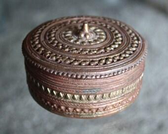 Vintage Bronze Trinket Dish with Lid