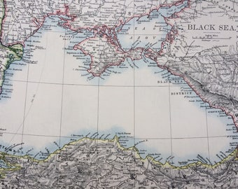 1899 BLACK SEA Original Antique W & A.K Johnston map, Wall Decor - Home Decor - Bulgaria, Russia, Turkey, Ukraine, Georgia, Romania