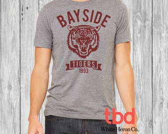 Bayside Tiger 1993 Graphic Tee Unisex Triblend Shirt Fitted (tee saved by the bell inspired for mens womens bella canvas soft)