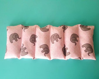 Rice bag / pink gray elephant  / rice heating pad / pain relief/  heat and cold therapy pack / relaxation/  microwavable