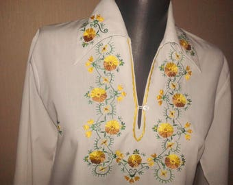 BOHO white blouse Embroidered blouse top Ethnic embroidery flowers shirt Hippie top festival rustic blouse Floral print blouse gift for  her