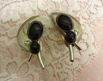 Art Deco French Jet Earrings, Silver and French Jet Earrings, French Jet Clip on Earrings, French Jet and Crystal Earrings