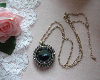 Vintage Pendant, Crystal Pendant, Glass Pendant, Faceted Glass Pendant, Czech Glass Pendant