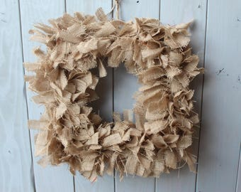 rustic burlap wreath - burlap wreath - rag wreath - farmhouse decor - square wreath - farmhouse wreath - rustic home decor - rustic decor