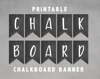 Printable Chalkboard Banner Bunting Flags