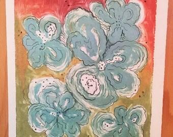 Blue Bouquet II {monotype}