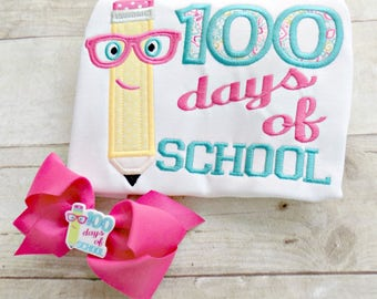100 Days of School for Girls Tshirt, Toddlers,Pink Glasses, Girls 100 Days shirt,100 Days of School, Matching Bow, Embroidered, Appliqued