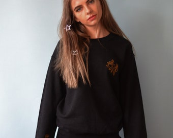 Embroidered gold rose Jumper with single rose sleeve