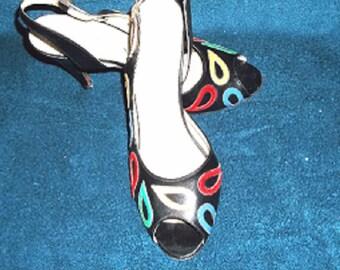 Vintage  Black Slingback Shoes with Multi Colored Trim, Dressy High Heel Slingback Shoes, Black Church High Heel Shoes