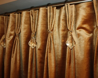 Custom Pinch Pleat Velvet Drapery with Crystals. Rockwater Collection. Crystal Curtains. Luxurious Curtains and Drapes. Natural Fabric!