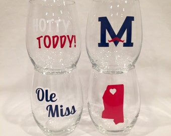 Ole Miss Inspired Wine Glasses