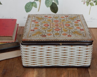 Vintage Sewing Basket, Sewing Box, Sewing Storage, Shabby Chic, Retro, Boho.Storage, Sewing Accessories.