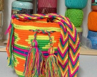 Mini Mochila Wayuu Multicolor / Yellow / Orange / Green / Fuchsia / Blue / Fuchsia / 100 % Wayuu Colombian Mochila Bag Handmade Cross Body m