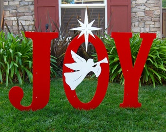 JOY With Trumpeting Angel Outdoor Christmas Holiday Yard Art Sign Large