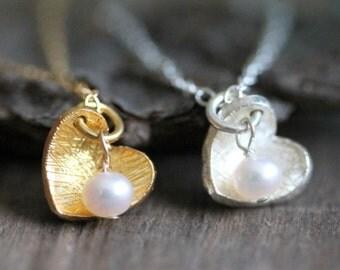 Herzchen Kette 925 Silber, Goldfill, Kleine Perle, Muttertagsgeschenk