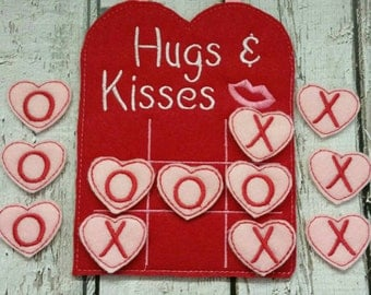 Valentine Tic Tac Toe Game Embroidered, Valentines Day, Board Games,  Educational Games,