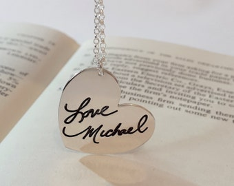 Heart Necklace Actual Handwriting Jewelry - With your Personalized Signature -  Signature Jewelry -  Mother's Day Gift