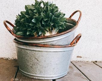 Galvanized Bucket | Metal Bucket | Metal Pail | centerpeice  | Farmhouse | Rustic Wedding| Centerpeice  | farmhouse canister / canister