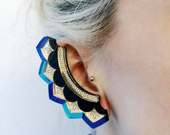 Zigzag Ear Cuff: Laser Cut Engraved Acrylic. Etched Pattern. Statement Summer Festival Earring Climber. Iridescent Gold Blue Scallop Pattern