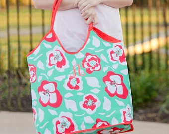 Monogram Beach Bag | Mint and Coral Floral Beach Bag | Monogram Pool Bag | Pretty Beach Bag | Summer Bag | Oversized Beach Bag