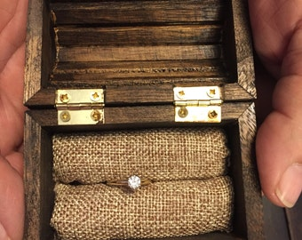 Small Treasure Chest Ring Box, Ring Bearer Box, Rustic Ring Box, Ring Holder, Keepsake Ring Box, Special Ring Box, Engagement Ring Box