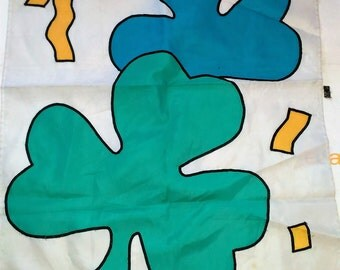 "Shamrock Flag/Banner/ Yard Art /40"" By 28 Wide/Fraying On The Ends And Fading/ Used (N)"
