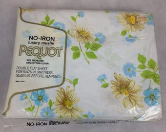 Vintage NEW Sealed Pequot Double Full Flat 50 50 Blue Floral Bed Sheet NOS 70s Deadstock