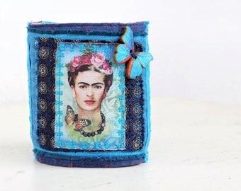 Frida Kahlo jewelry, Frida bracelet Upcycled jeans bracelet boho fabric bracelet fabric cuff bracelet fabric boho jewellery, mexican colors