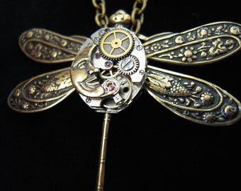 Dragonfly necklace, DRAGONFLY Necklace, DRAGONFLY, Moon, A501 Punctual The Steampunk, Steampunk, Moon