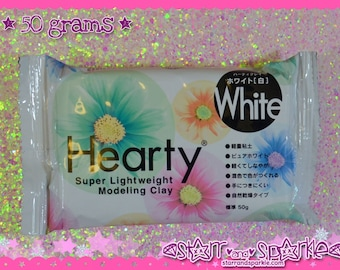 Hearty White 50g - Padico Japan Lightweight Paper Clay for Fake Sweets, Flowers & More