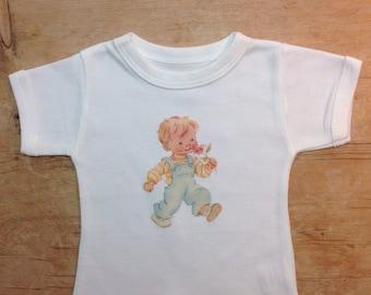 Organic cotton baby boys T shirt, baby shower gift, summer T shirt, boys T shirt, retro T shirt, free UK shipping