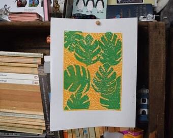 Green and Yellow Leaves Original Linocut Print